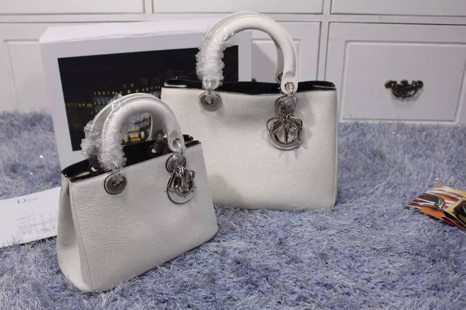 奢侈品包包货源 高仿迪奥女包 Dior Diorissimo Vip小号白色原版荔枝纹牛皮手提包23CM
