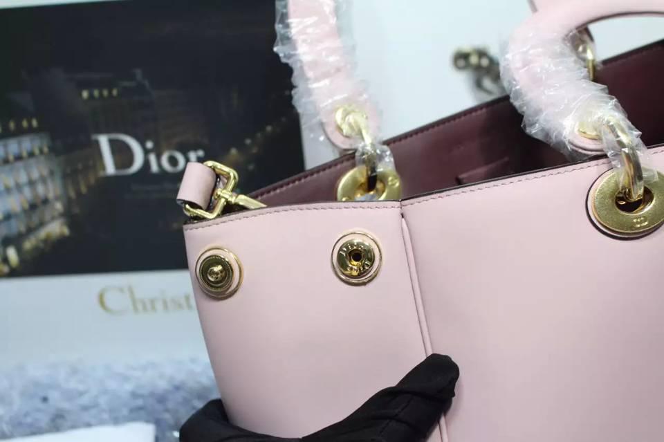 迪奥DIOR Diorissimo Vip系列 胭脂粉原版顶级平纹牛皮手提单肩女包 中号32CM