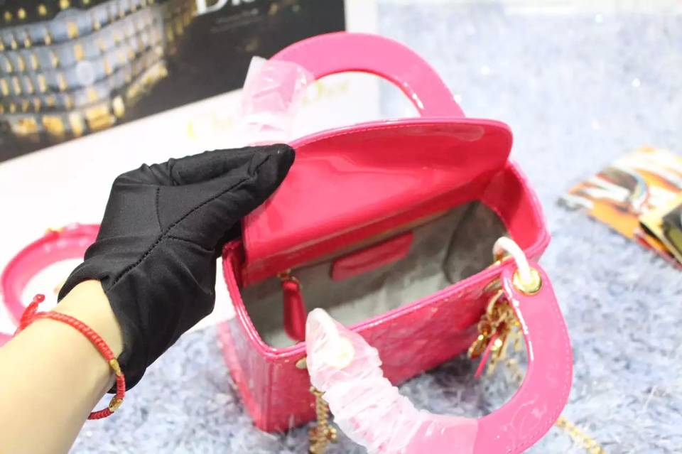 厂家直销 迪奥Lady Dior 三格戴妃包 玫红色原版顶级漆皮金色五金 两条肩带