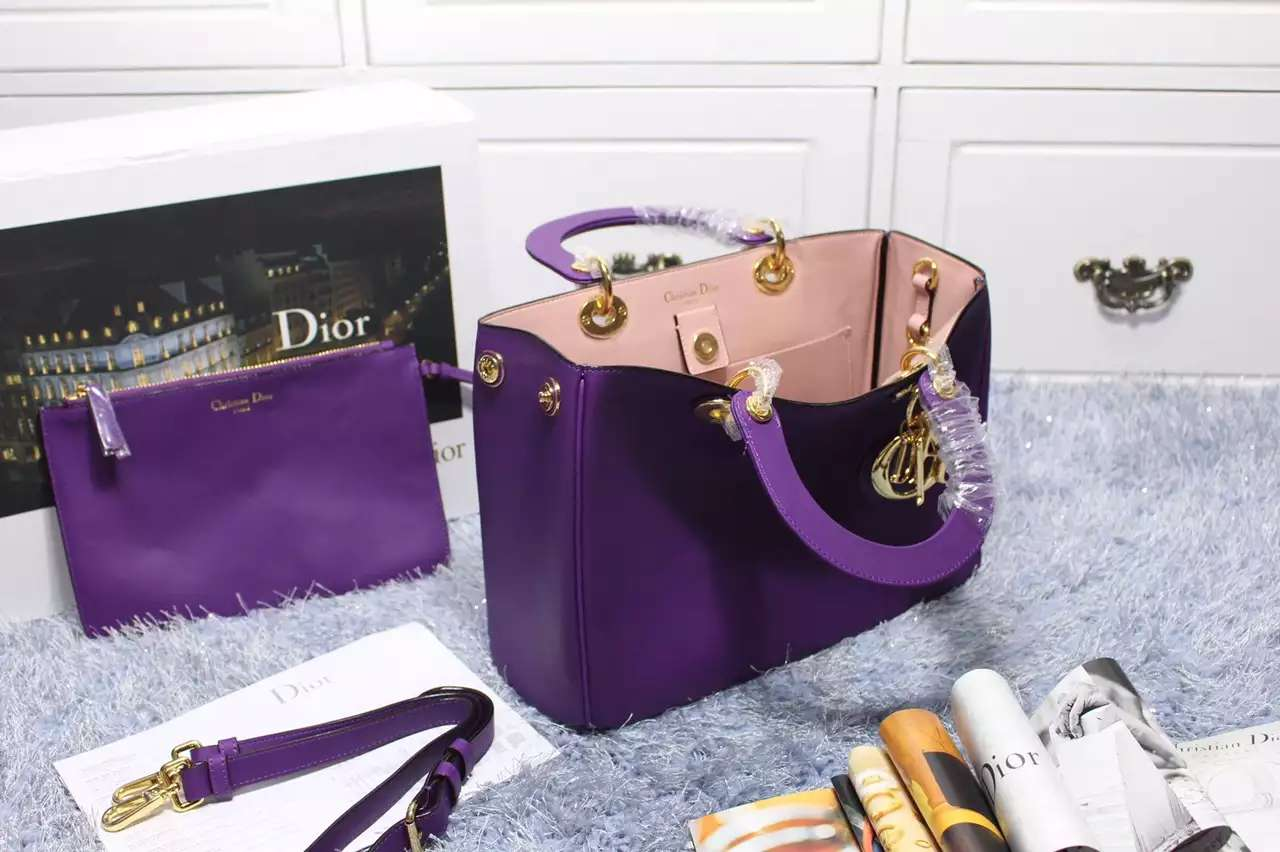 DIOR迪奥高仿包包批发 葡萄紫进口原版顶级平纹牛皮 Dior Diorissimo VIP中号32CM