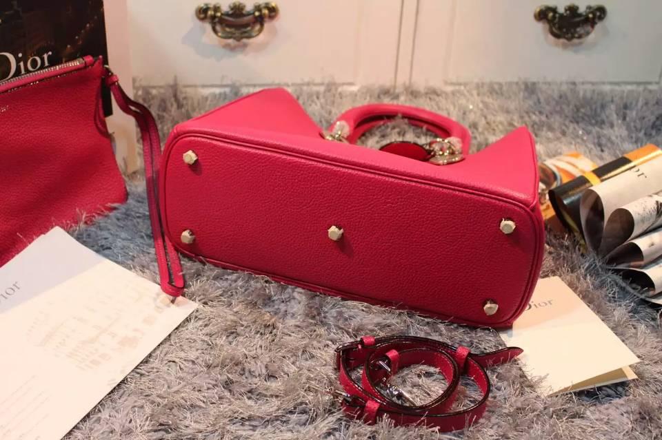 Dior迪奥 进口顶级荔枝纹牛皮 Dior Diorissimo Vip专属手提女包中号32CM 玫红色