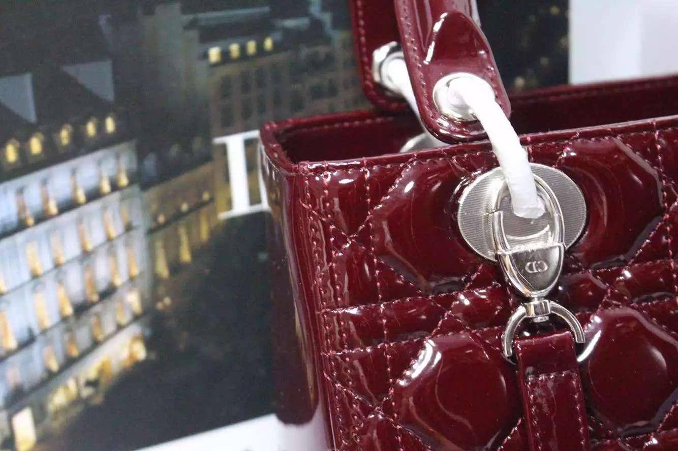 高档女包批发 迪奥Dior进口顶级漆皮五格戴妃包酒红色银扣 时尚女士手提包斜挎包