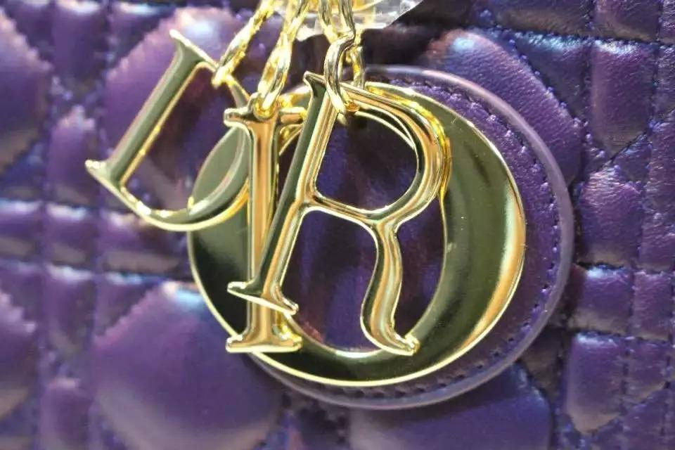 迪奥DIOR 五格戴妃包金扣葡萄紫色进口原版顶级羊皮 高档真皮手提女包