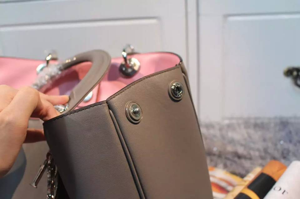 一件代发货 迪奥Dior Diorissimo Vip系列灰色原版平纹牛皮女包 大号38CM