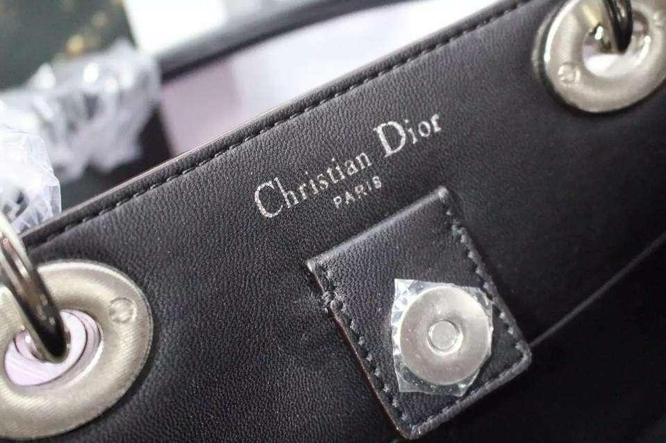 高档女包批发 Dior Diorissimo迪奥VIP中号 枣红拼樱花粉拼黑色原版平纹牛皮手提包32CM