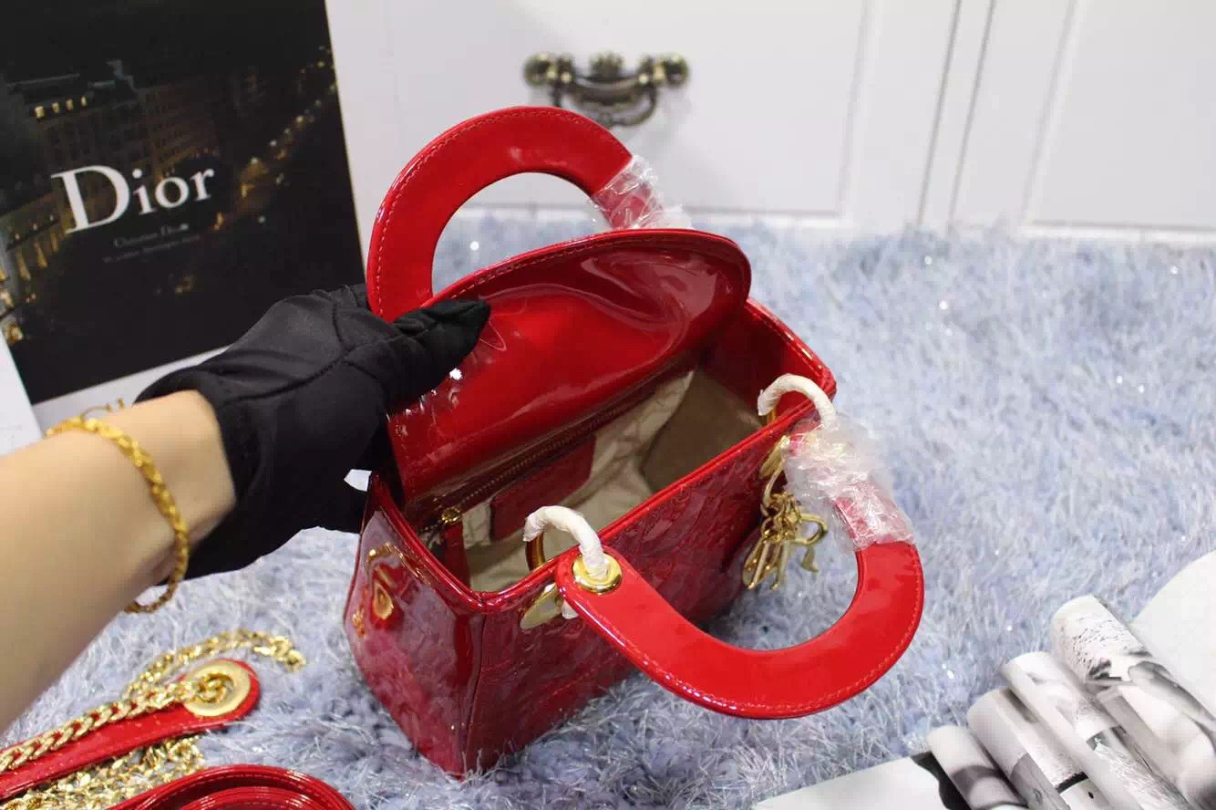 DIOR包包批发 迪奥2015新款双肩带三格戴妃包漆皮大红色 金扣