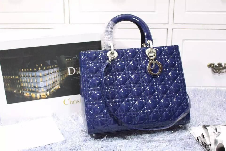 厂家直销 迪奥DIOR宝蓝色进口顶级漆皮七格戴妃包 时尚手提女包32CM