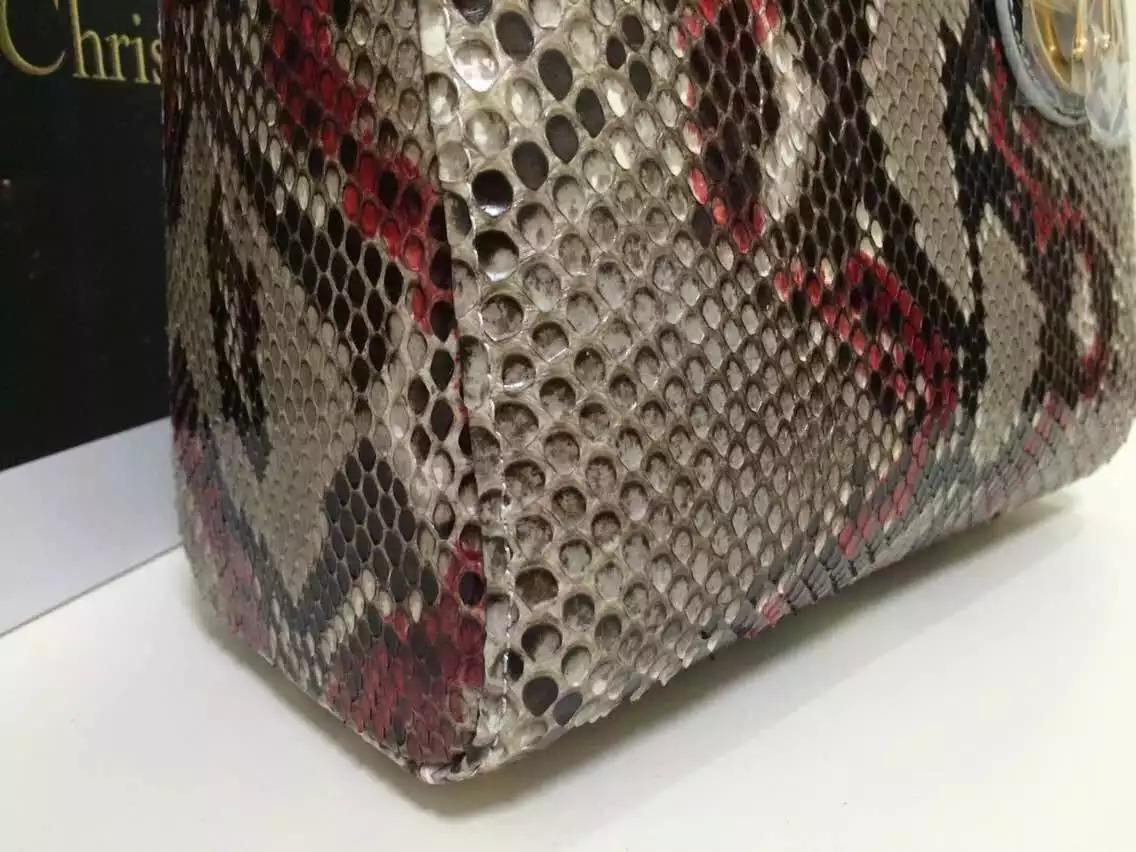 2015新款女包 Dior迪奥非洲蟒蛇皮戴妃包中号彩色款 奢侈品女包代购