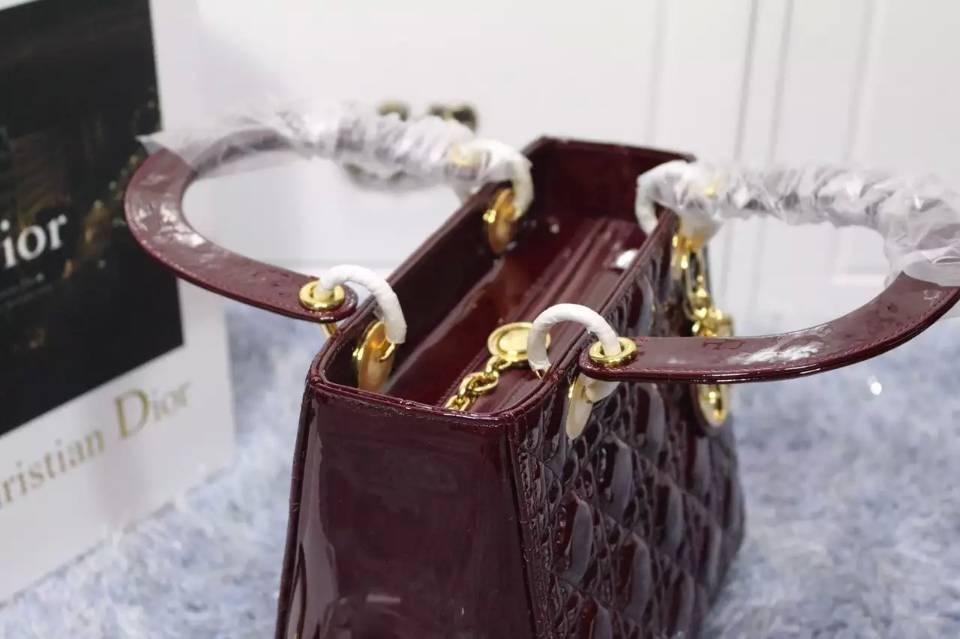 一件代发货 DIOR迪奥酒红色进口顶级漆皮中号戴妃包金扣 高档女士手提包