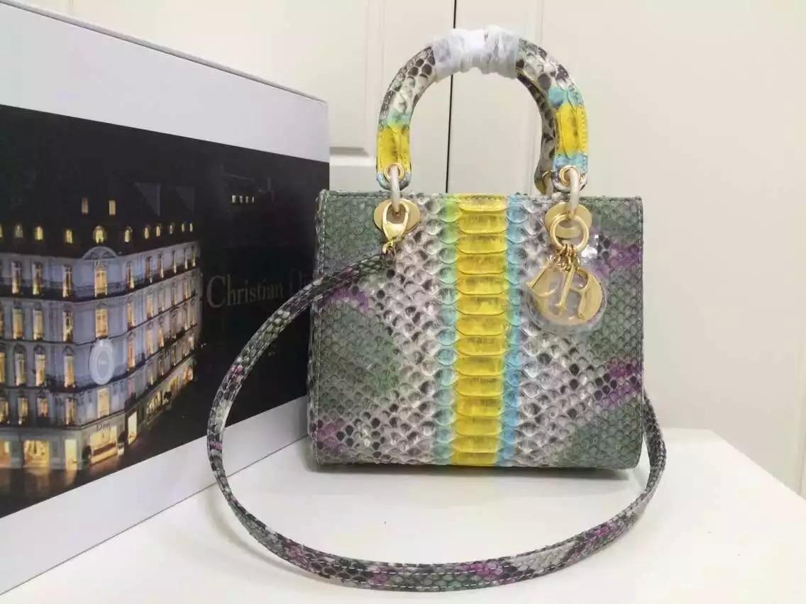 迪奥DIOR女包批发 彩色原版顶级非洲蟒蛇皮戴妃包中号24CM 新款女士手提单肩包