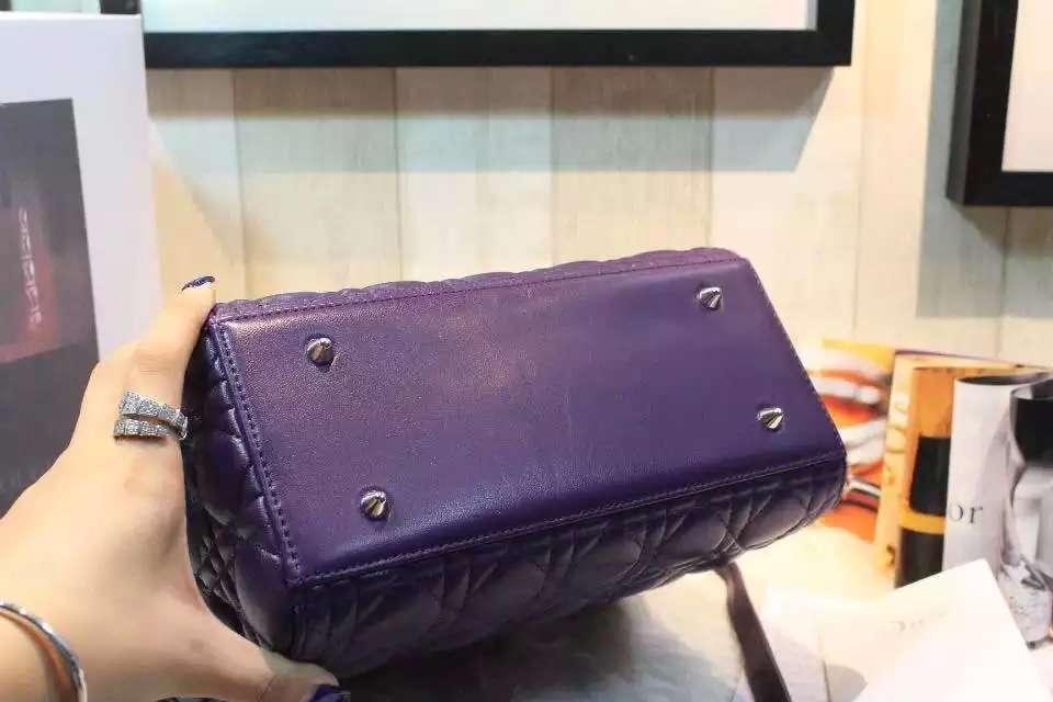 迪奥DIOR新色葡萄紫进口顶级羊皮五格戴妃包 真皮女款手提斜挎包