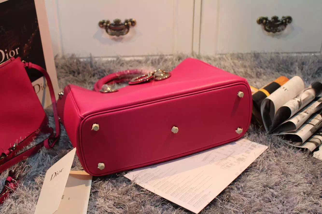 迪奥DIOR Diorissimo Vip系列玫红色原版顶级平纹牛皮 手提女包单肩包中号32CM