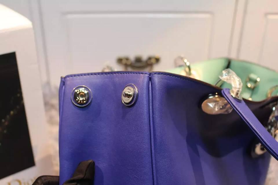 Dior迪奥 蓝色进口原版平纹牛皮 Diorissimo Vip中号32CM 时尚手提女包