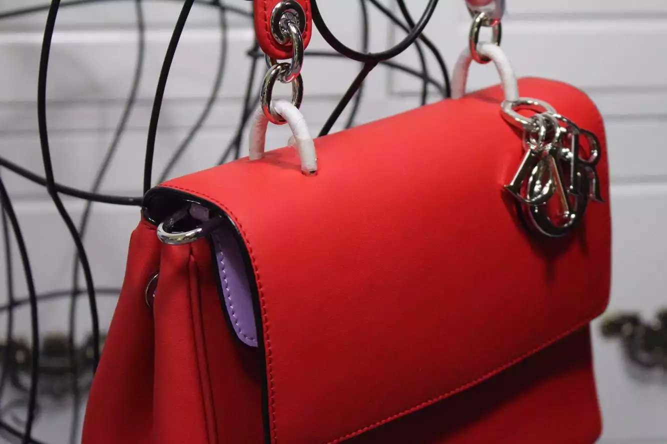 厂家直销 DIOR迪奥2015新款红色内拼浅紫色原版牛皮小蜜蜂系列21CM 时尚手提女包明星同款