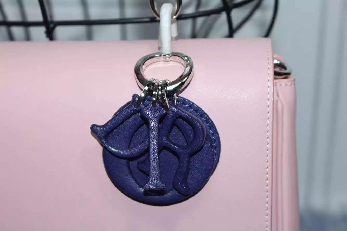 迪奥DIOR小蜜蜂大号27CM 胭脂粉拼玫红拼深蓝色顶级原版牛皮女包手提包