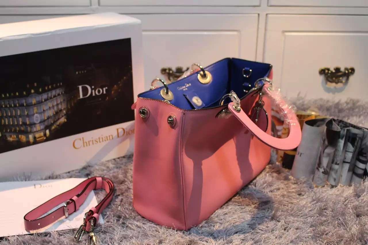 迪奥Dior Diorissimo Vip 原版顶级平纹牛皮女士手提包斜挎包粉色 中号32CM