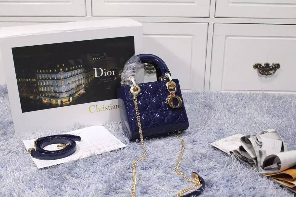 Dior迪奥三格戴妃包新款两肩带 宝蓝色进口原版漆皮手提斜挎女包