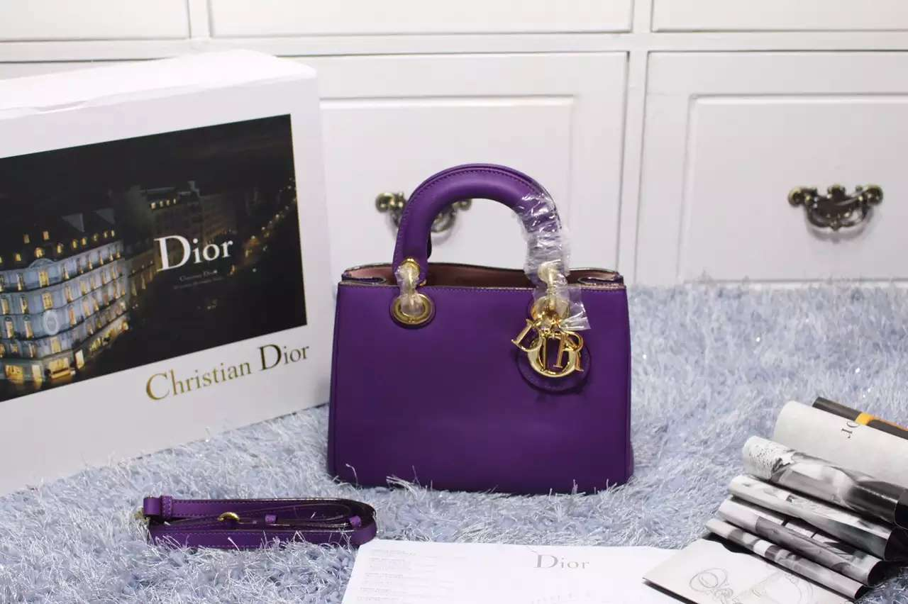 厂家直销 迪奥 Dior Diorissimo小号Vip进口原版顶级平纹牛皮女士手提包23CM 葡萄紫