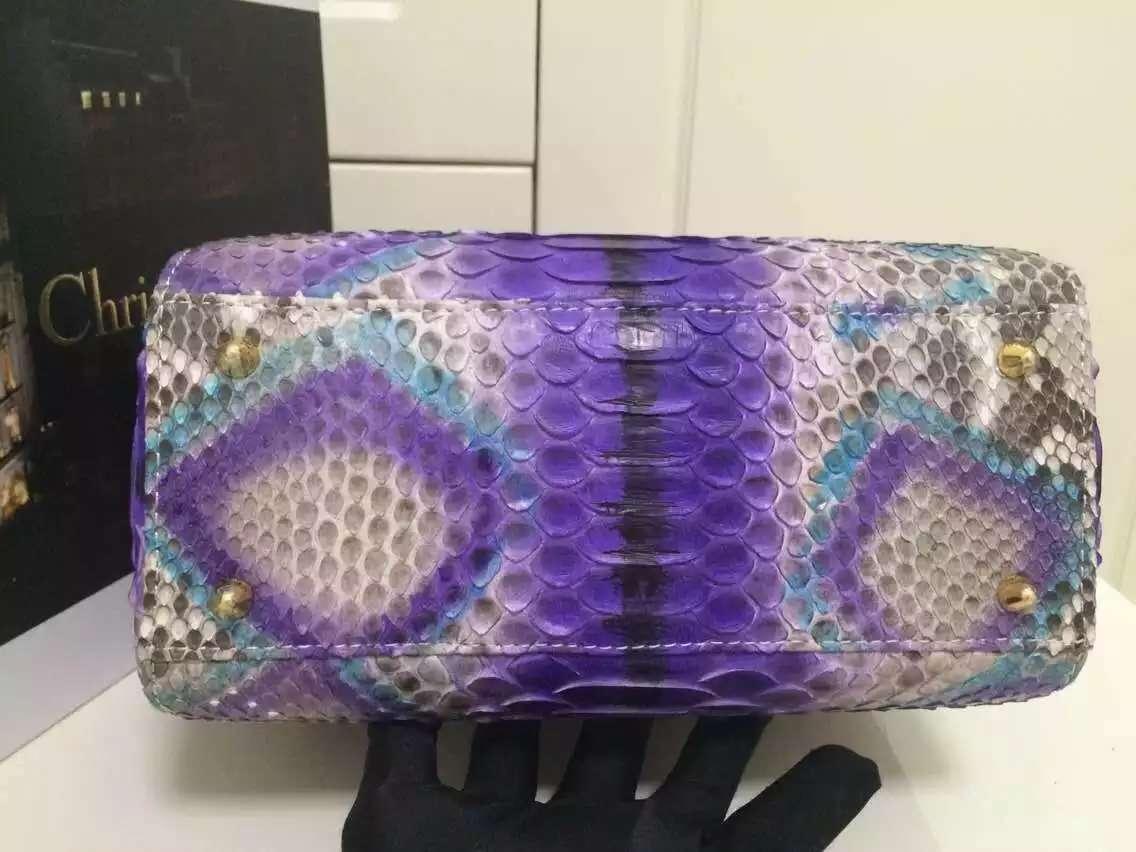 广州白云迪奥包包批发 DIOR彩色进口顶级非洲蟒蛇皮戴妃包 时尚女士手提包斜挎包