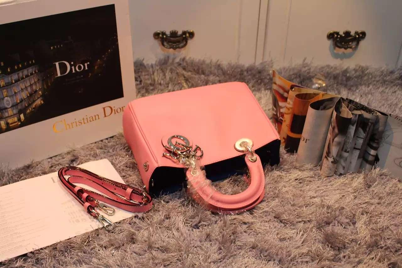 奢侈品女包货源 Dior Diorissimo Vip系列 粉色原版平纹牛皮蓝色里衬手提包 小号23CM