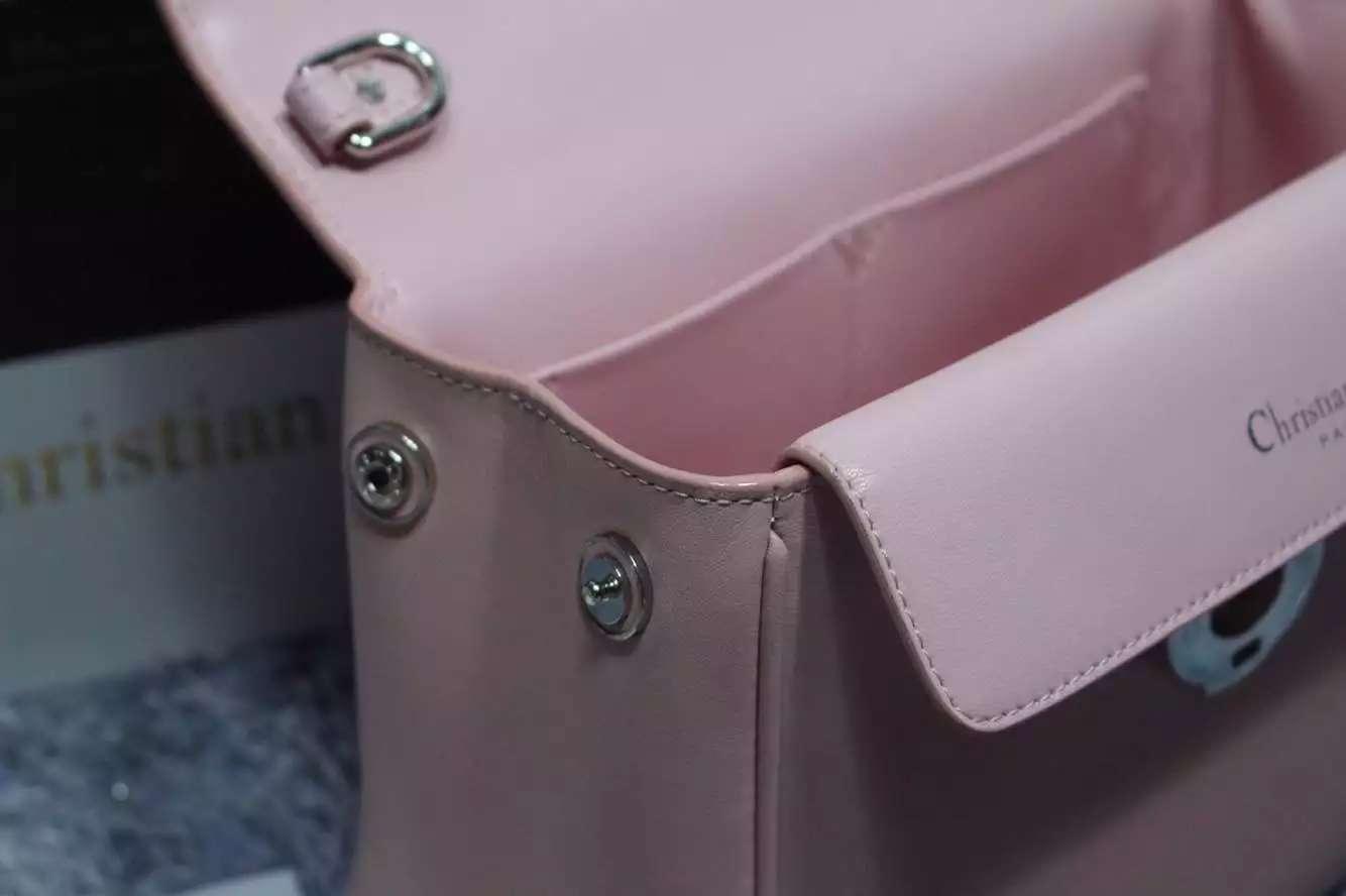 21CM Dior迪奥小蜜蜂小号 原版顶级牛皮胭脂粉拼玫红拼深蓝 明星同款女士手提包斜挎包