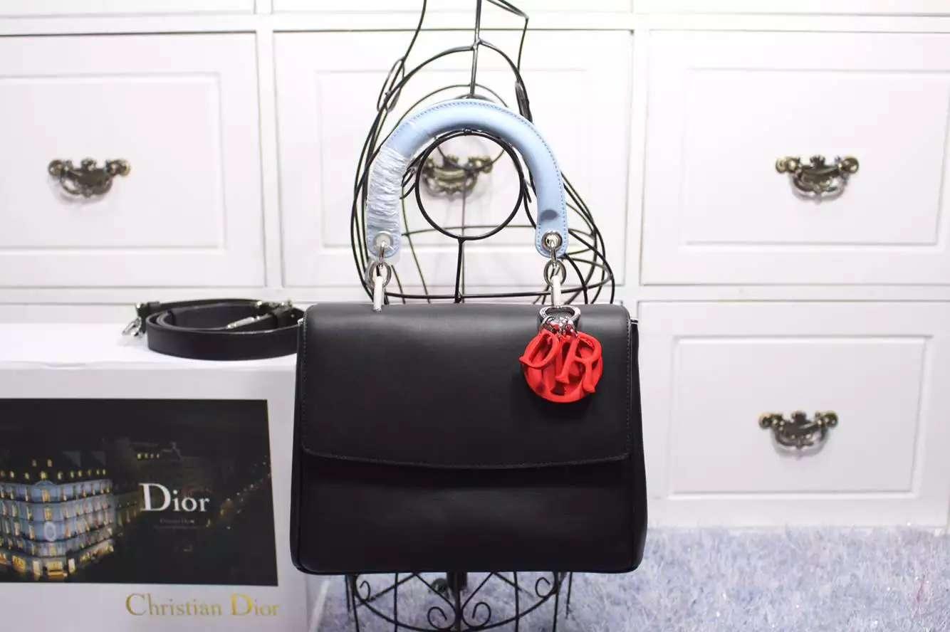 Dior迪奥新款小蜜蜂 黑色拼浅蓝拼红色原版顶级牛皮 明星同款女士手提斜挎包27CM