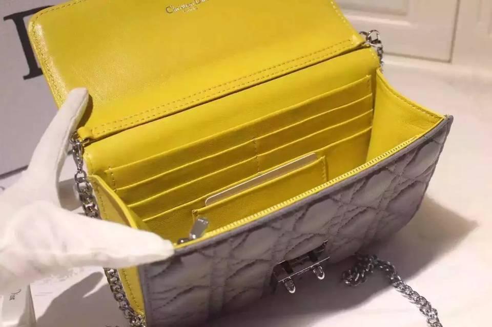 21CM白色拼黄色拼灰色进口顶级羊皮 迪奥MISS DIOR MINI链条单肩斜挎女包