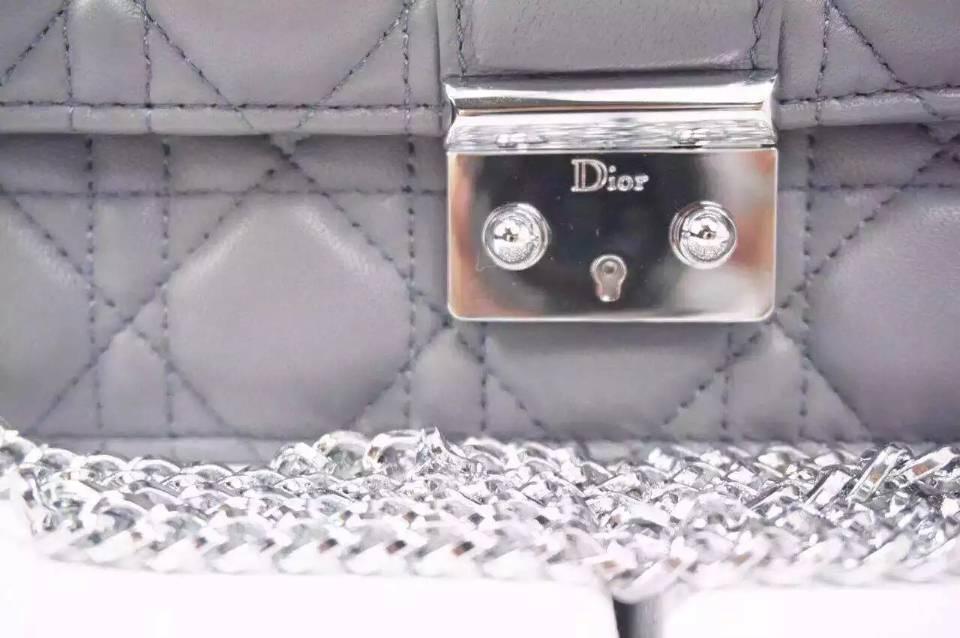 一件代发货 MISS DIOR MINI迪奥灰色进口原版羊皮菱格包链条单肩斜挎女包21CM