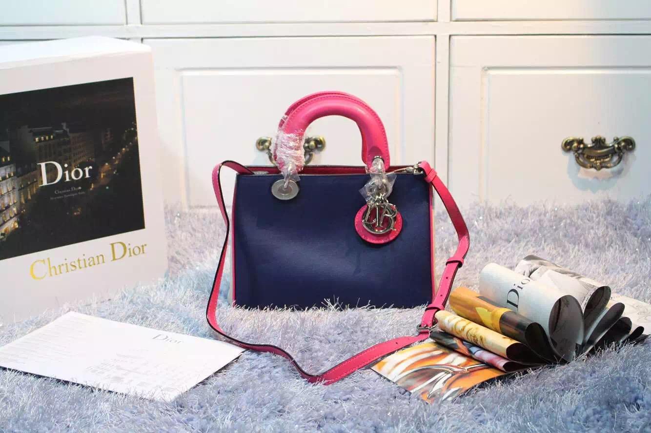 实拍 Dior Diorissimo迪奥Vip专属深蓝拼浅蓝拼玫红进口顶级平纹牛皮小号女包23CM