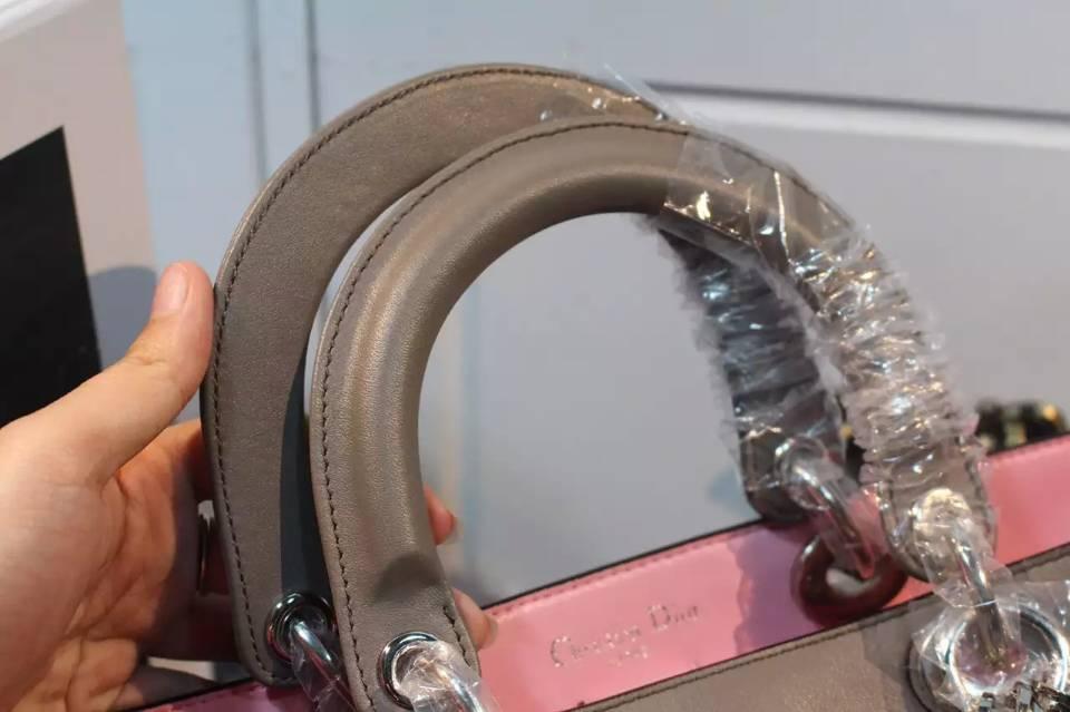 高档女包批发 迪奥Dior Diorissimo 灰色原版顶级平纹牛皮手提包单肩包 中号32CM