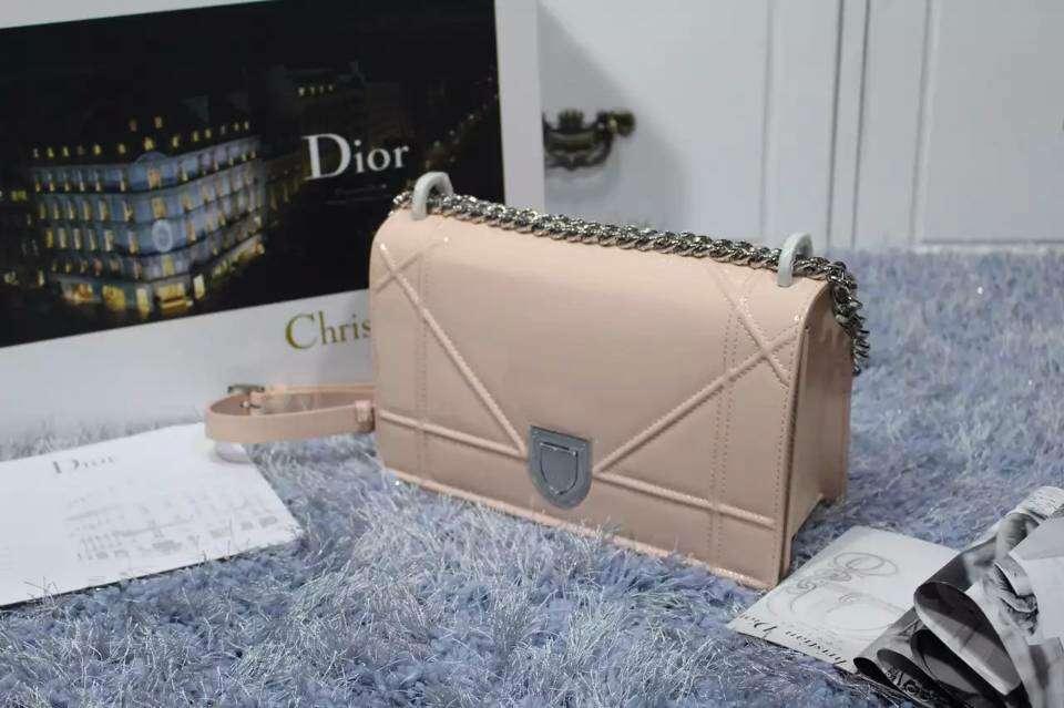 迪奥DIOR浅粉色进口顶级漆皮包包 夏季新款单肩斜挎女包