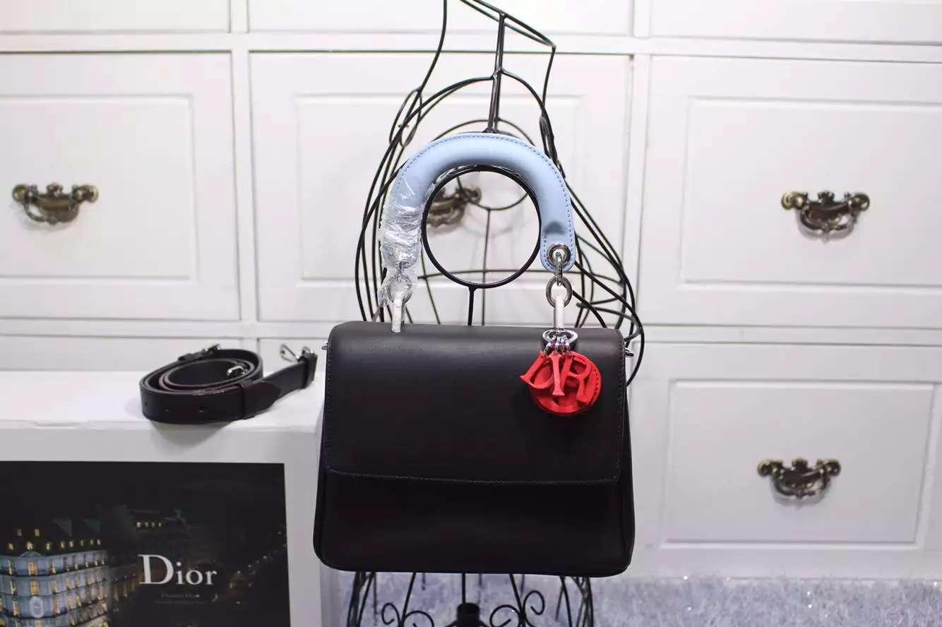 迪奥Dior小蜜蜂小号21CM 黑色拼浅蓝拼红色 时尚高档真皮手提女包