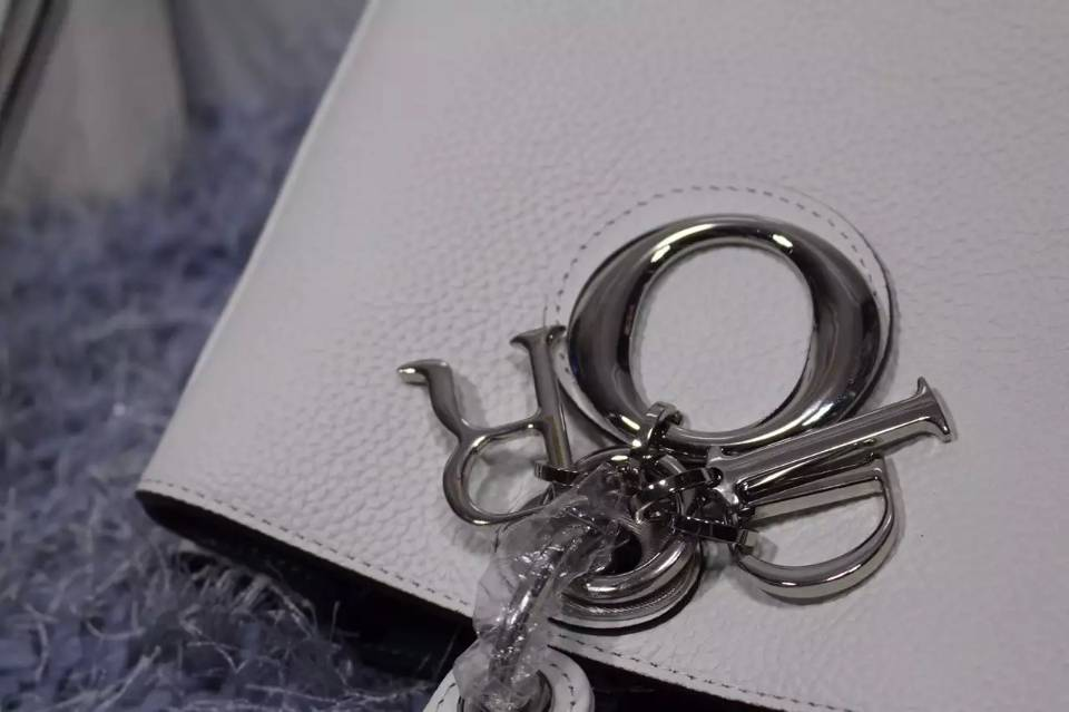 Dior Diorissimo迪奥Vip系列中号 原版顶级荔枝纹牛皮手提女包 白色 32CM