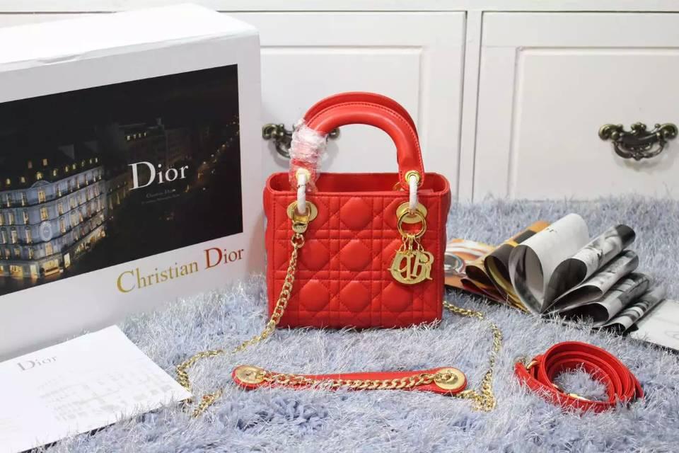 迪奥女包批发 Dior原版顶级羊皮小号戴妃包红色三格双肩带 金扣