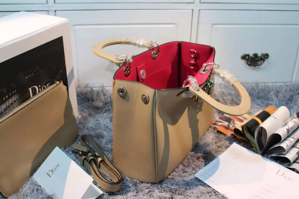 诚招代理 迪奥Dior Diorissimo Vip系列中号 杏色原版顶级平纹牛皮女士手提单肩包32CM