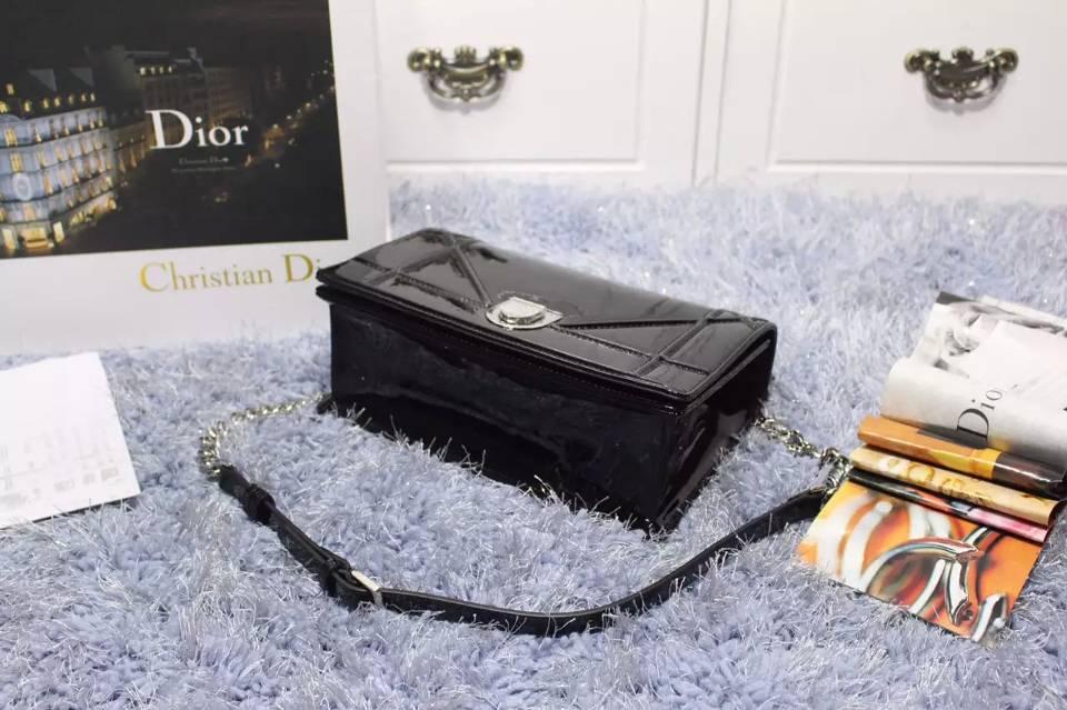 DIOR迪奥2015新款 黑色原版顶级漆皮链条单肩斜挎包 夏季流行小包