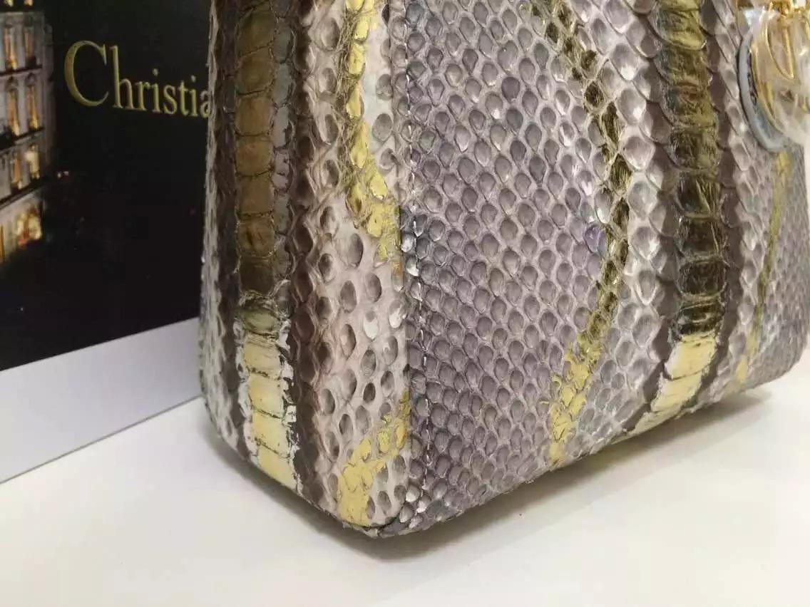 厂家直销 DIOR迪奥新款灰白拼金原版顶级非洲蟒蛇皮中号戴妃包24CM 女士手提斜挎包