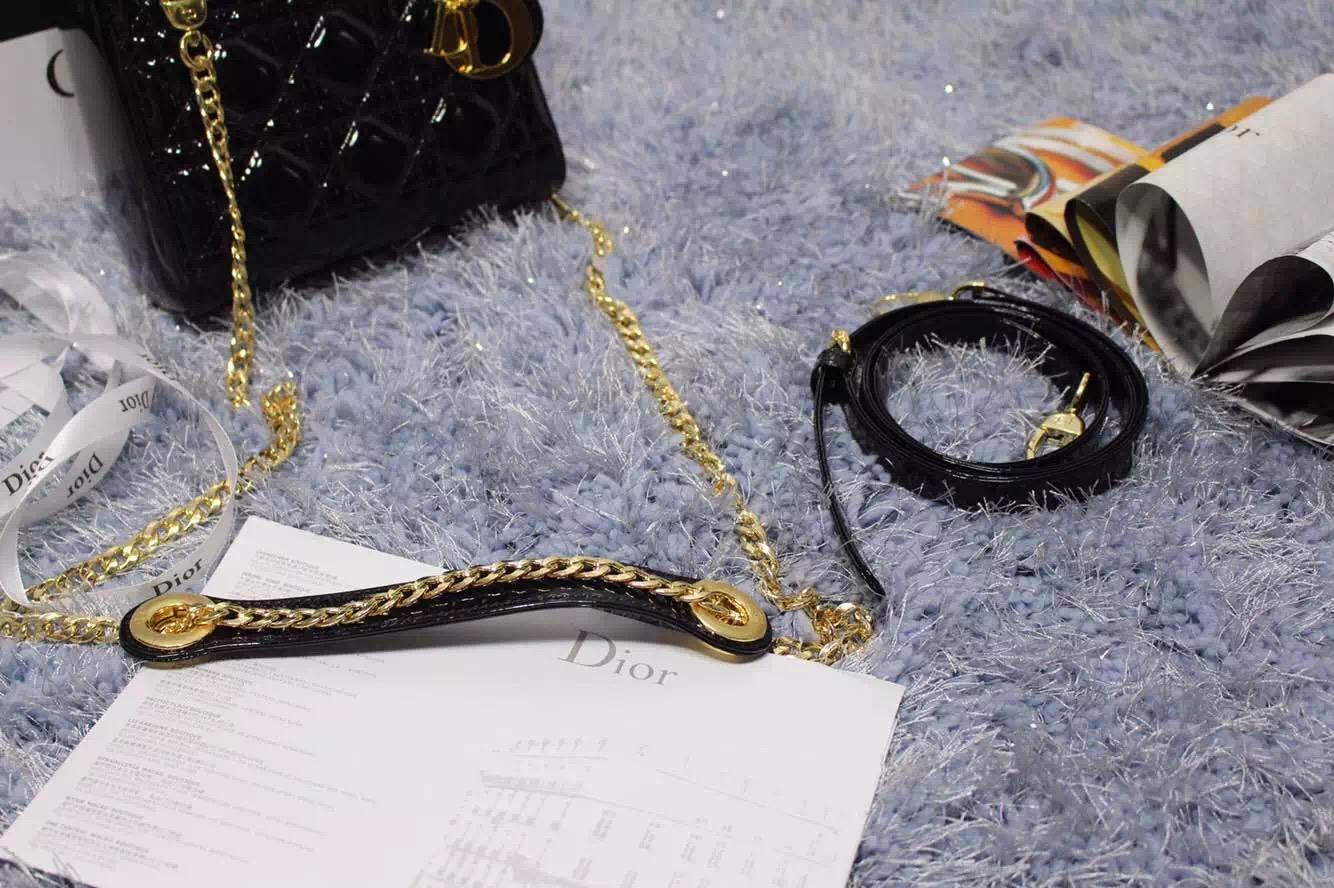 厂家直销 DIOR迪奥黑色顶级原版漆皮戴妃包金扣三格 双肩带