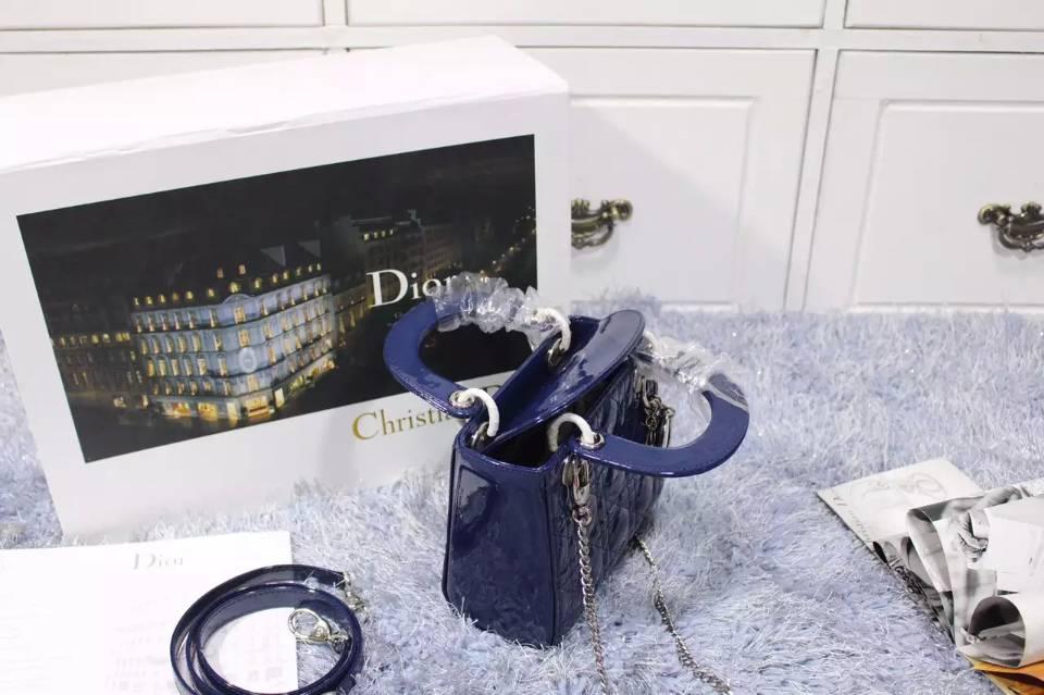 高档女包批发 迪奥Dior厂家货源宝蓝色银扣顶级漆皮戴妃包三格 两条肩带