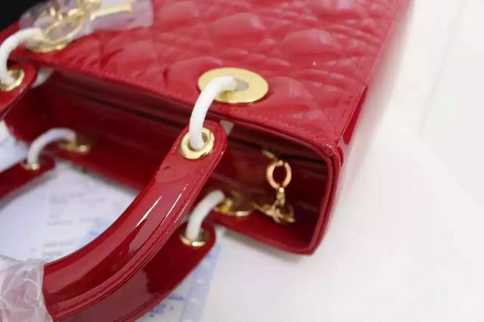 DIOR迪奥经典戴妃包大红色原版顶级漆皮五格金扣 时尚女士手提单肩包