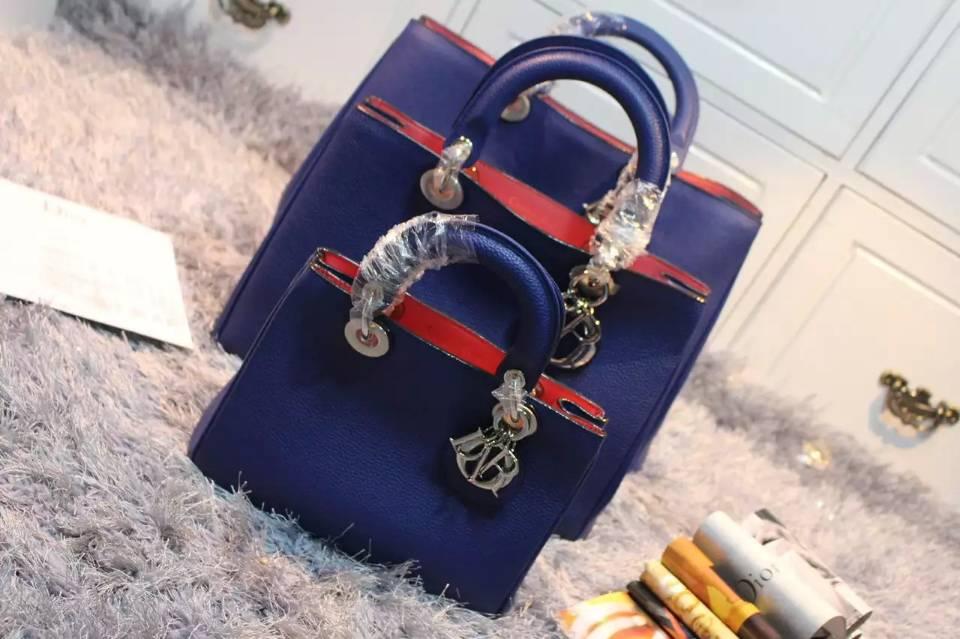 迪奥Dior Diorissimo 小号Vip蓝色原版顶级荔枝纹牛皮 手提女包斜挎包23CM