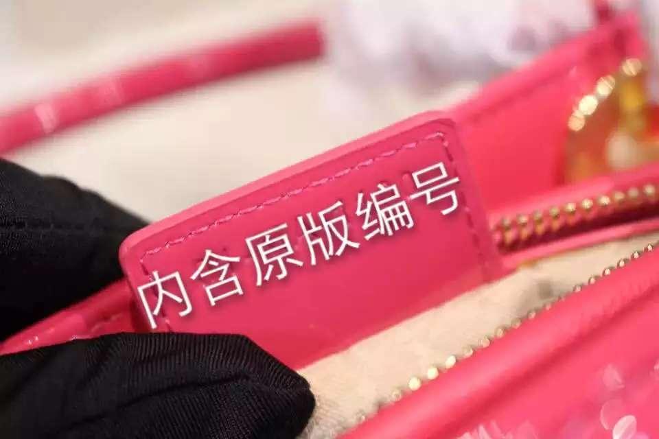 厂家直销 迪奥Dior玫红色漆皮五格戴妃包金扣 高档女士手提斜挎包