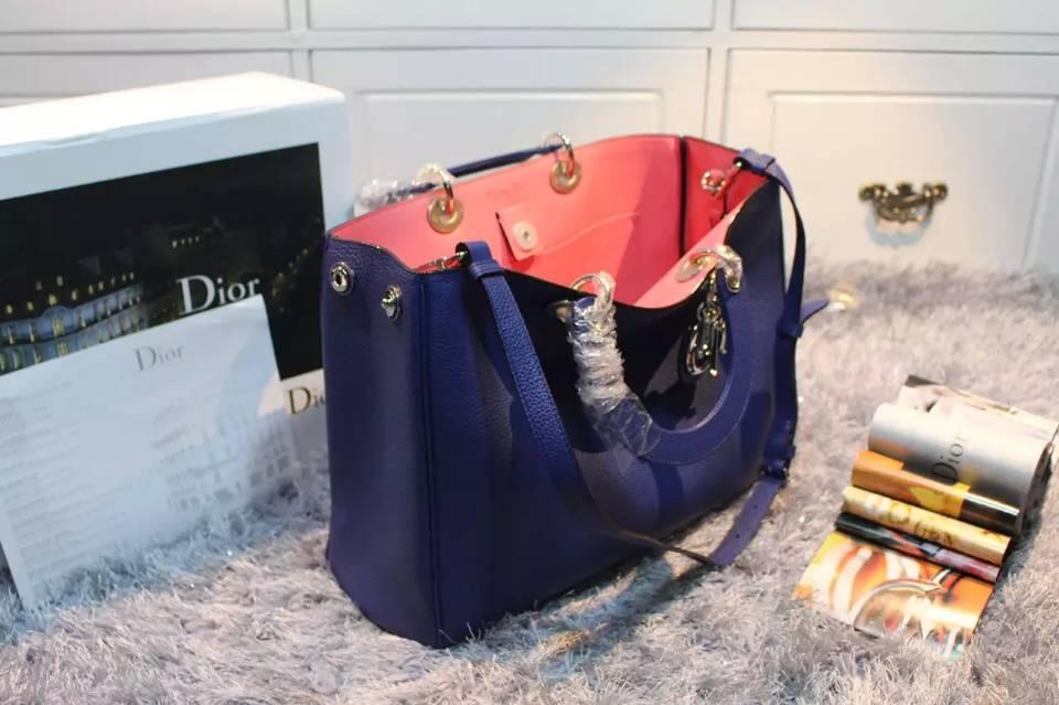 厂家直销 迪奥Dior Diorissimo Vip专属大号38CM 蓝色原版荔枝纹牛皮玫红里衬