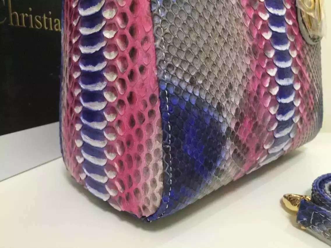一件代发货 迪奥DIOR进口顶级非洲蟒蛇皮中号戴妃包彩色款24CM 配送皮肩带