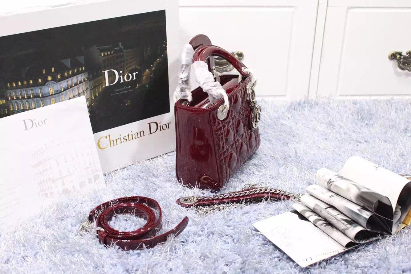 迪奥DIOR戴妃包新款 三格两肩带酒红色漆皮戴妃包银扣 时尚手提斜挎女包