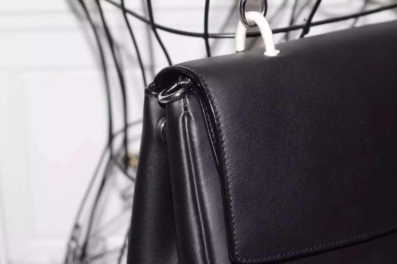 厂家直销 迪奥DIOR小蜜蜂顶级原版牛皮手提女包 黑色拼玫红 27CM