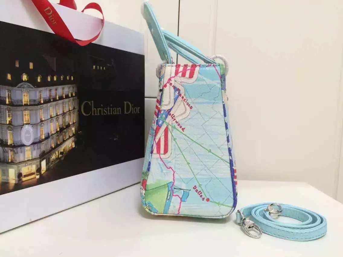 迪奥DIOR包包批发 2015新款戴妃包航海图原版顶级鹿皮 时尚女士手提包斜挎包