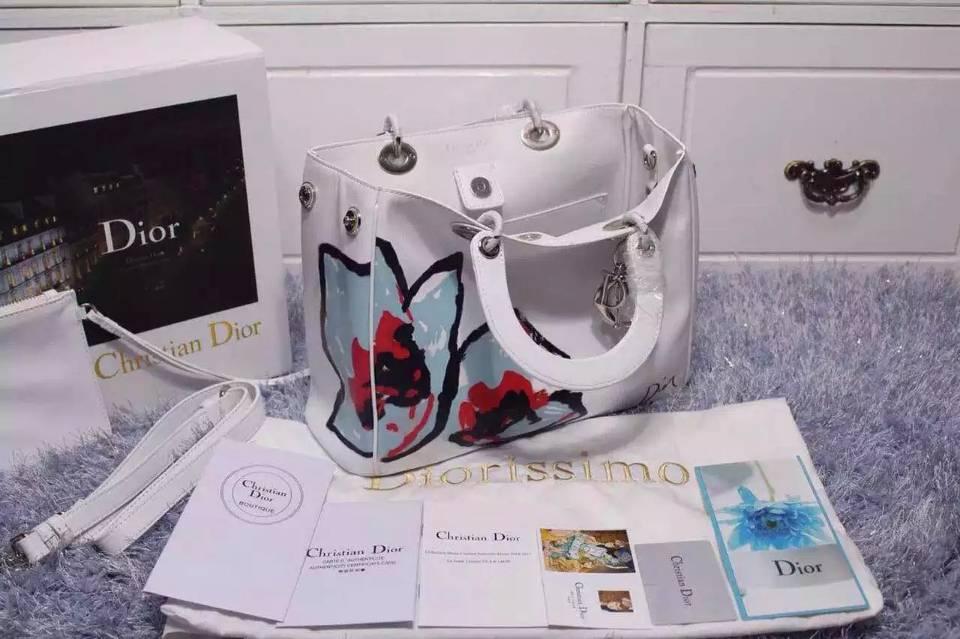 厂家直销 DIOR迪奥2015新款 Dior Diorissimo Vip印花款中号 原版顶级牛皮手提女包