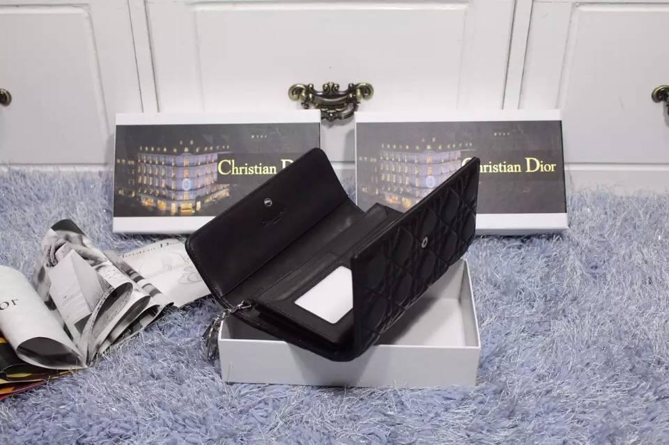 高档钱包批发 DIOR迪奥 原版顶级羊皮菱格翻盖钱夹 女士长款钱包手包 黑色