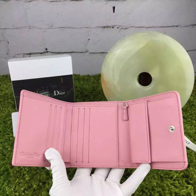 迪奥钱包批发 Dior原版顶级羊皮三折钱夹 女士短款钱包新款 粉色